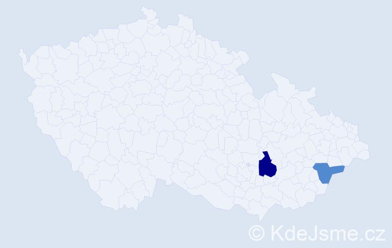 Příjmení: 'Jakubo', počet výskytů 8 v celé ČR