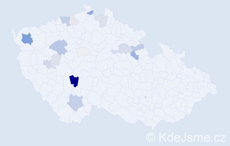 Příjmení: 'Chvojanová', počet výskytů 50 v celé ČR