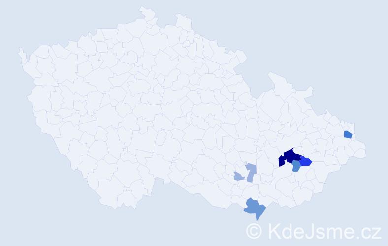 Příjmení: 'Kapavík', počet výskytů 16 v celé ČR
