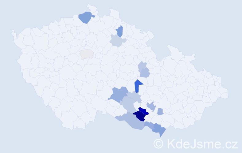 Příjmení: 'Krontorád', počet výskytů 54 v celé ČR