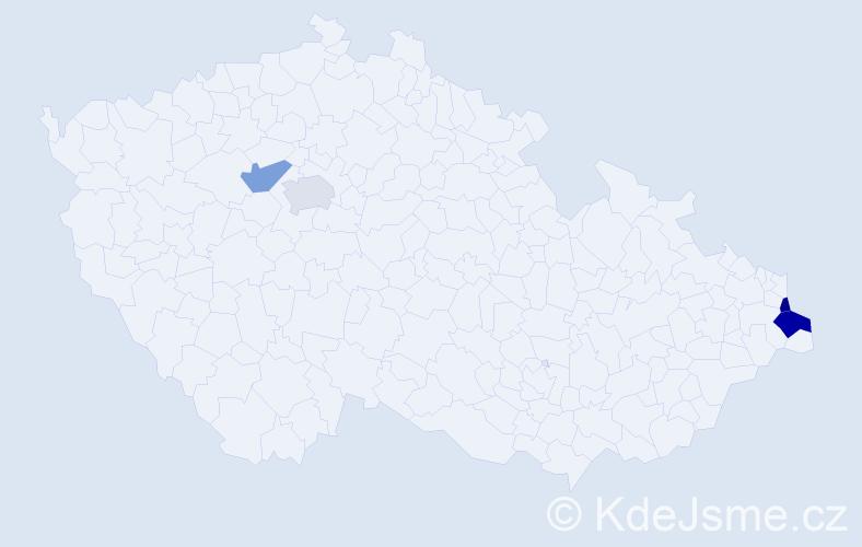 Příjmení: 'Kavalčík', počet výskytů 5 v celé ČR