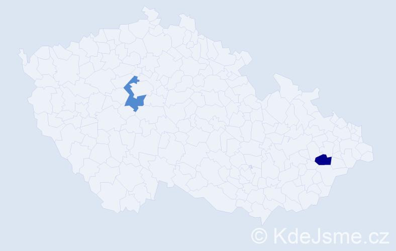 Příjmení: 'Dakić', počet výskytů 2 v celé ČR