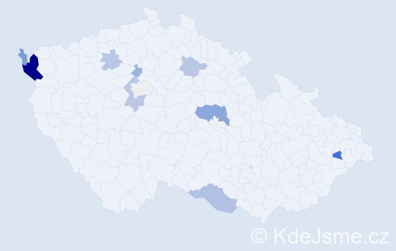 Příjmení: 'Čechvalová', počet výskytů 24 v celé ČR