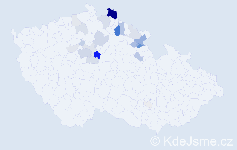 Příjmení: 'Jirounková', počet výskytů 56 v celé ČR
