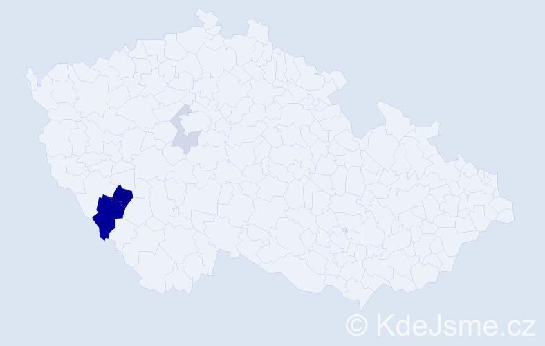 Příjmení: 'Hőrl', počet výskytů 7 v celé ČR