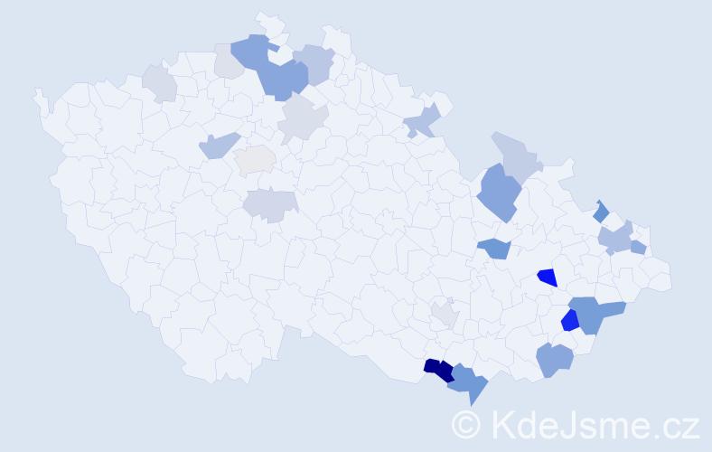 Příjmení: 'Holbík', počet výskytů 70 v celé ČR