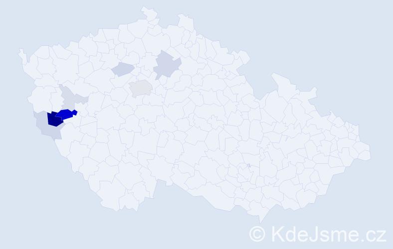 Příjmení: 'Gust', počet výskytů 23 v celé ČR