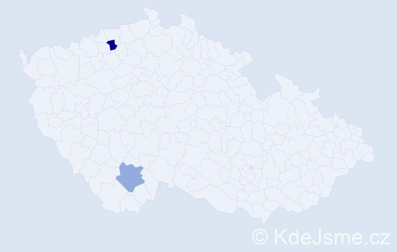 Příjmení: 'Dalipi', počet výskytů 2 v celé ČR