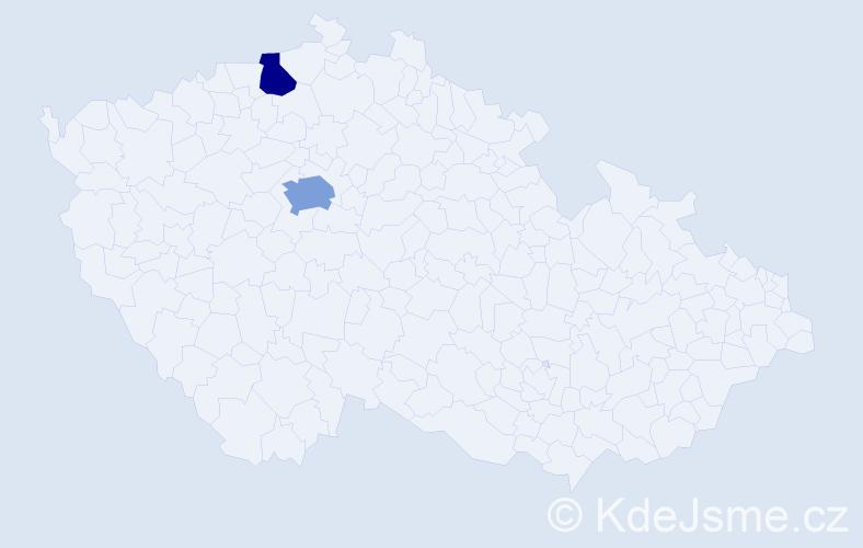 Příjmení: 'Chinedu', počet výskytů 3 v celé ČR