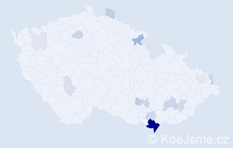 Příjmení: 'Ivančicová', počet výskytů 52 v celé ČR