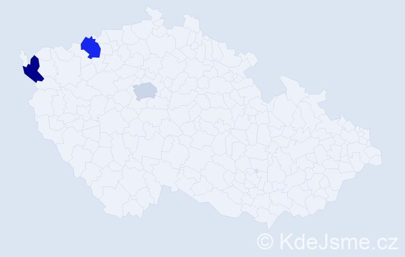 Příjmení: 'Mačička', počet výskytů 3 v celé ČR