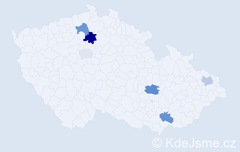 Příjmení: 'Ladecká', počet výskytů 7 v celé ČR