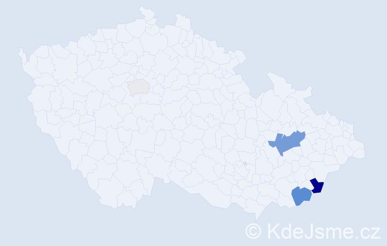 Příjmení: 'Hruzek', počet výskytů 8 v celé ČR
