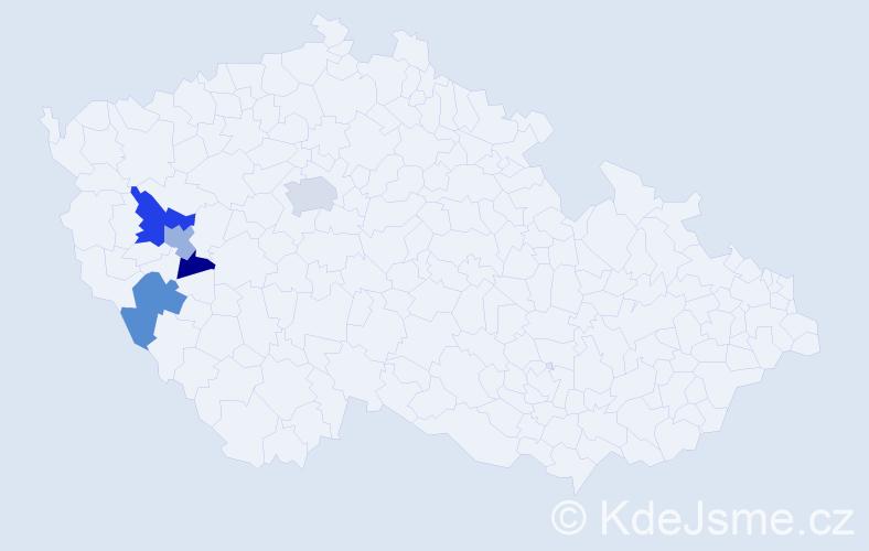 Příjmení: 'Achac', počet výskytů 11 v celé ČR