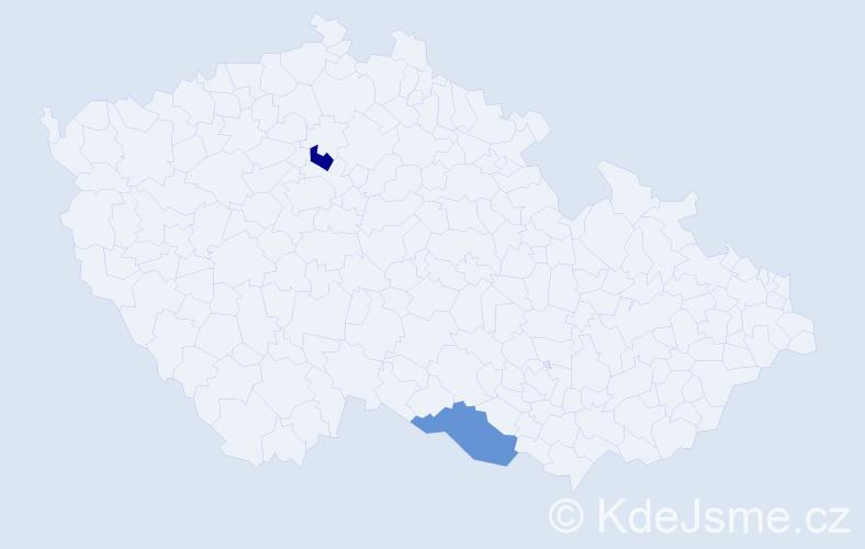 Příjmení: 'Jochacy', počet výskytů 4 v celé ČR
