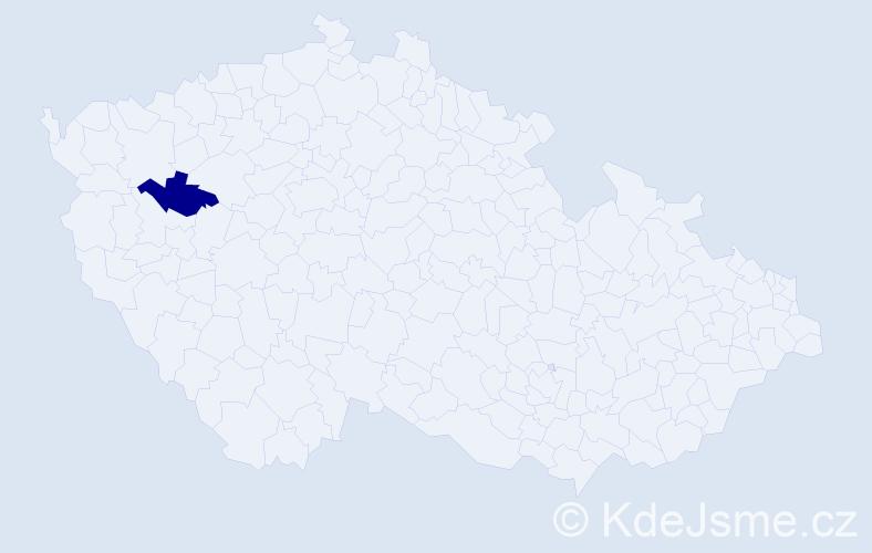 """Příjmení: '""""Čermáková Sýbová""""', počet výskytů 1 v celé ČR"""