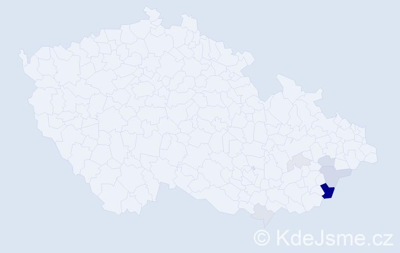 Příjmení: 'Dořák', počet výskytů 16 v celé ČR