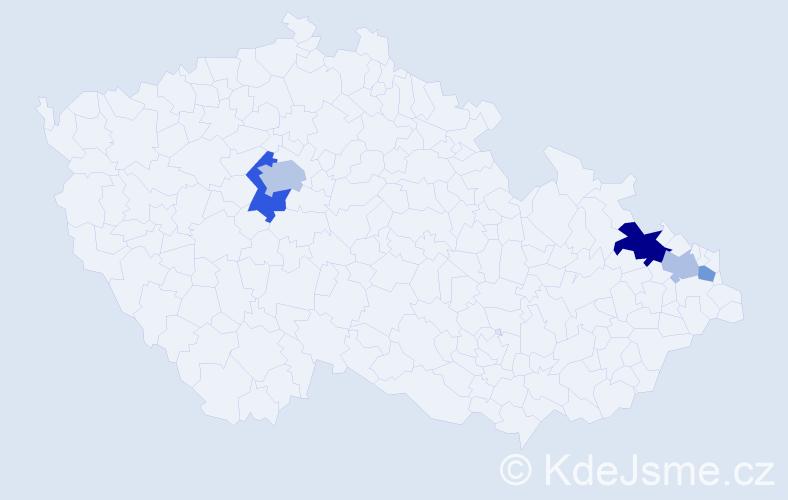 Příjmení: 'Ďaďová', počet výskytů 10 v celé ČR