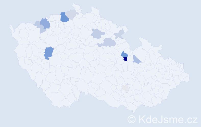 Příjmení: 'Zoubele', počet výskytů 27 v celé ČR