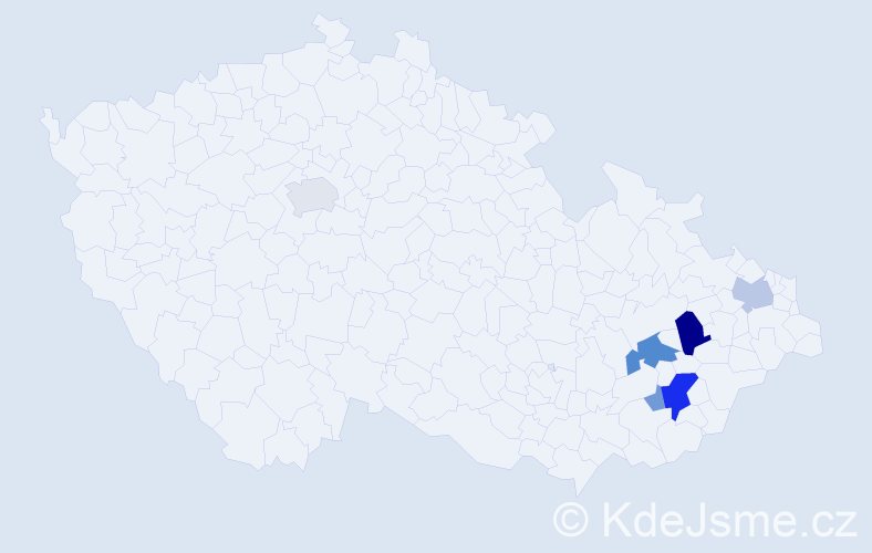Příjmení: 'Kalup', počet výskytů 16 v celé ČR
