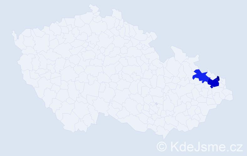 Příjmení: 'Klajban', počet výskytů 9 v celé ČR