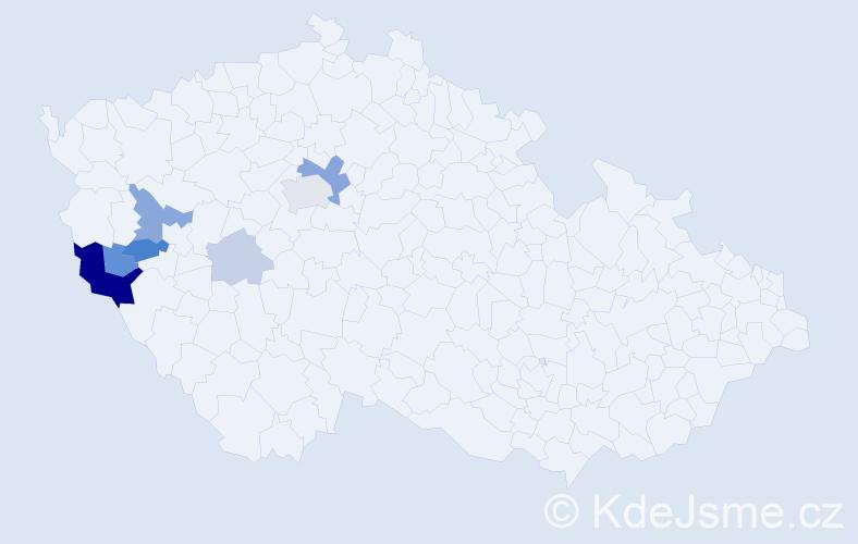 Příjmení: 'Kinzler', počet výskytů 19 v celé ČR