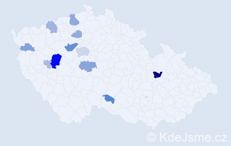 Příjmení: 'Kuchler', počet výskytů 36 v celé ČR