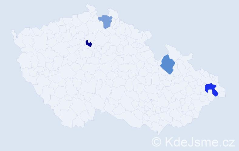 Příjmení: 'Hanzesová', počet výskytů 5 v celé ČR