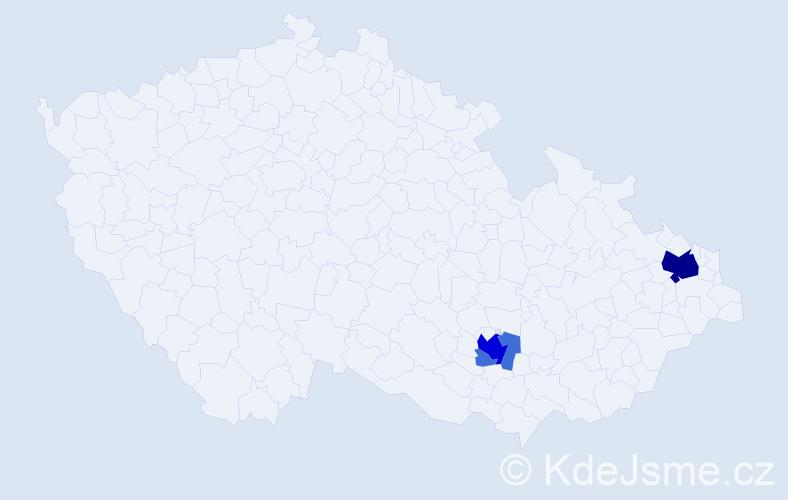 Příjmení: 'Baňoch', počet výskytů 13 v celé ČR