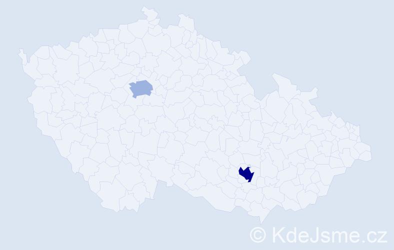 Příjmení: 'Irani', počet výskytů 3 v celé ČR