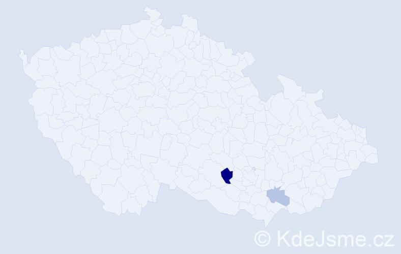 Příjmení: 'Bacúrová', počet výskytů 3 v celé ČR