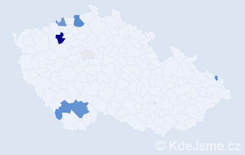 Příjmení: 'Kendrová', počet výskytů 12 v celé ČR