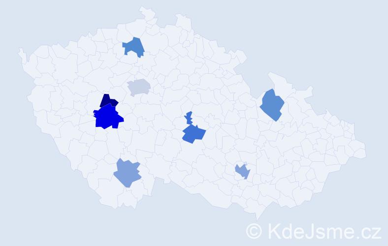 Příjmení: 'Dan', počet výskytů 11 v celé ČR