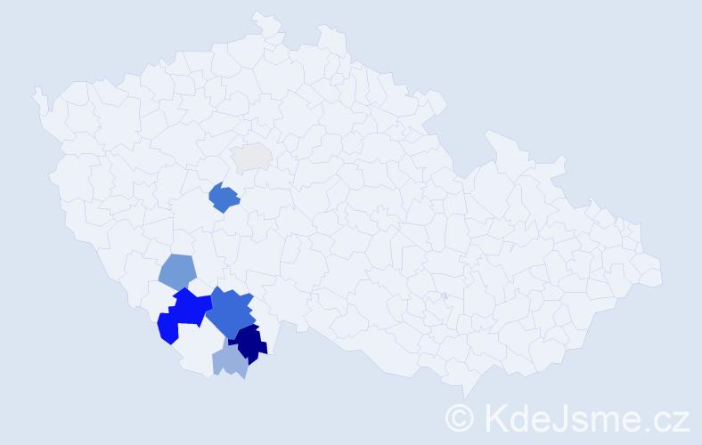 Příjmení: 'Brašnička', počet výskytů 40 v celé ČR