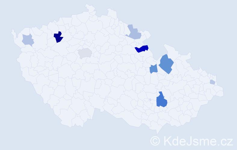 Příjmení: 'Cole', počet výskytů 18 v celé ČR