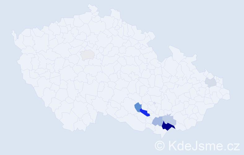 Příjmení: 'Guliš', počet výskytů 21 v celé ČR