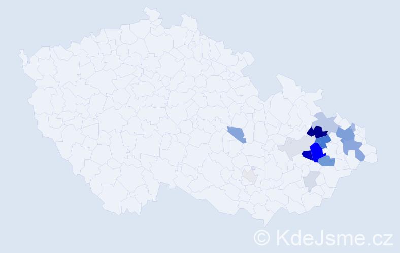 Příjmení: 'Červek', počet výskytů 40 v celé ČR