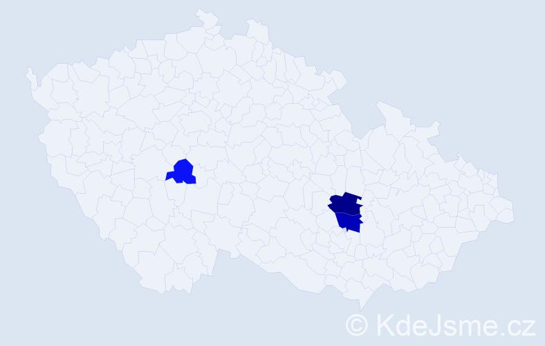 Příjmení: 'Hajdamachová', počet výskytů 7 v celé ČR