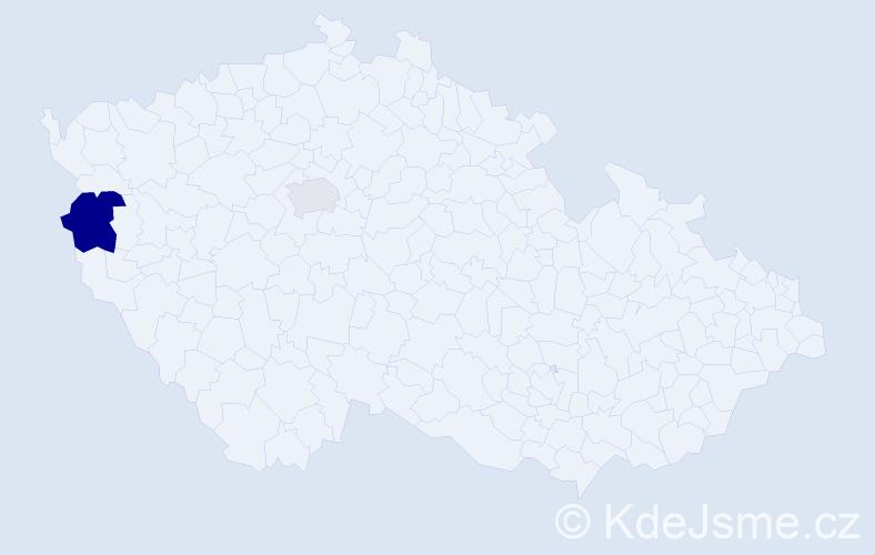 Příjmení: 'Czigléczká', počet výskytů 3 v celé ČR