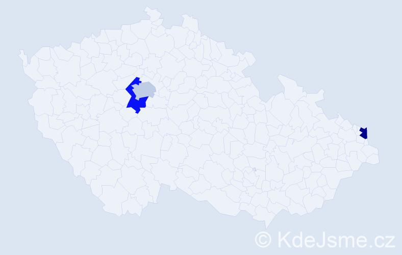 Příjmení: 'Čapčíková', počet výskytů 9 v celé ČR