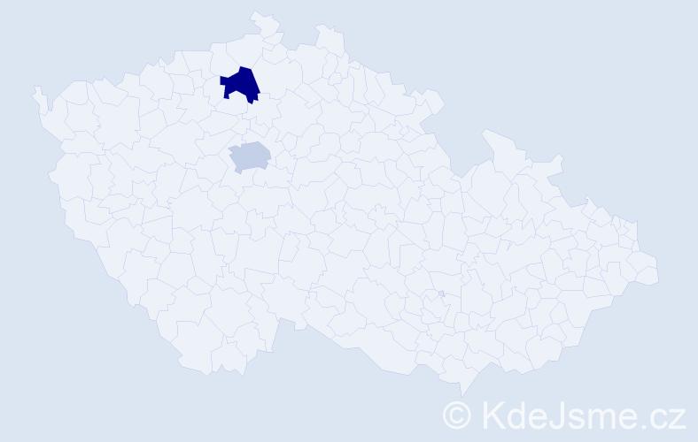 Příjmení: 'Libšová', počet výskytů 2 v celé ČR