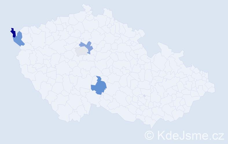Příjmení: 'Fircáková', počet výskytů 5 v celé ČR