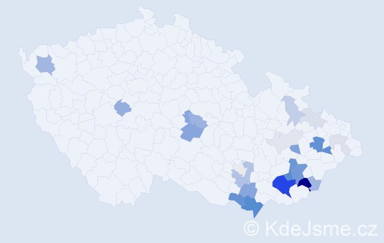 Příjmení: 'Hrančík', počet výskytů 67 v celé ČR