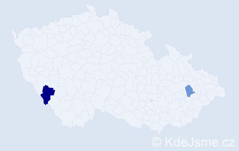 Příjmení: 'Czerwek', počet výskytů 3 v celé ČR