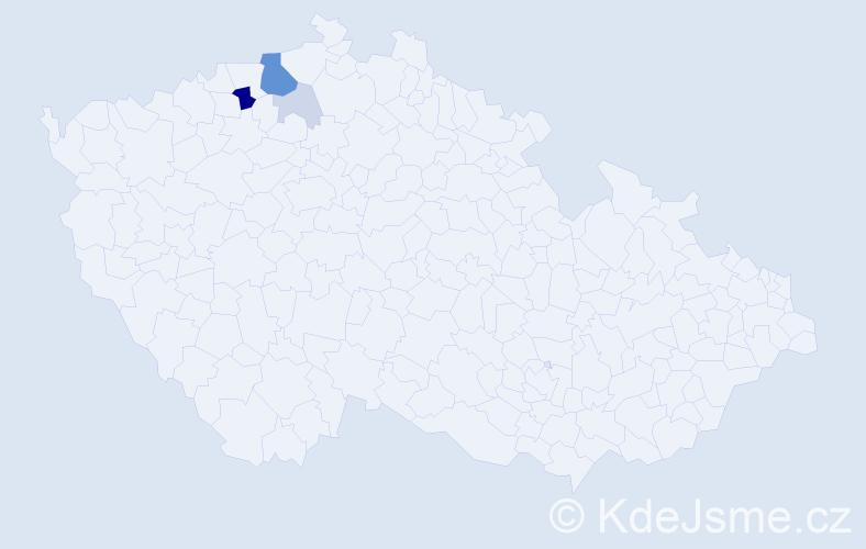 Příjmení: 'Čisarová', počet výskytů 15 v celé ČR