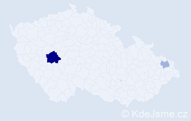 Příjmení: 'Erdelyi', počet výskytů 3 v celé ČR