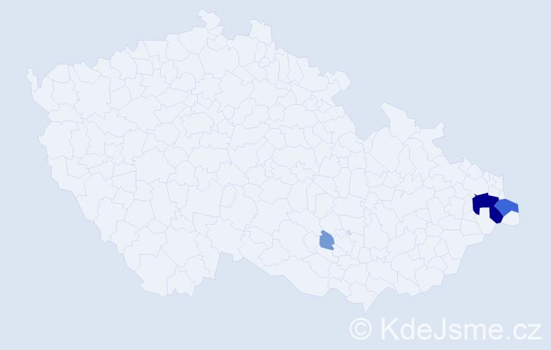 Příjmení: 'Fryščoková', počet výskytů 16 v celé ČR