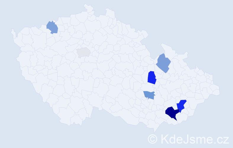 Příjmení: 'Bařica', počet výskytů 12 v celé ČR