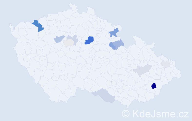 Příjmení: 'Isáková', počet výskytů 23 v celé ČR