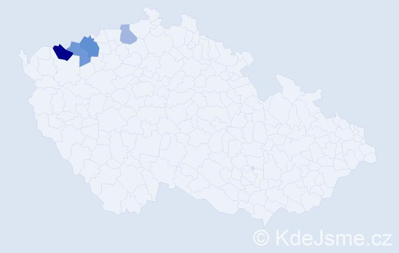 Příjmení: 'Egermannová', počet výskytů 6 v celé ČR